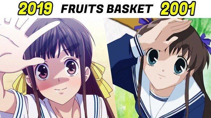 Imagen dividida entre Tohru de 'Fruits Basket' de 2001 y 2019.
