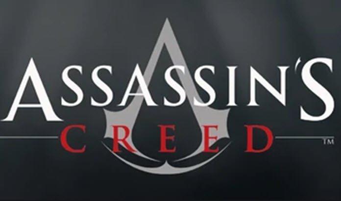 Logo de Assassin's Creed en fondo negro con letras blancas y rojas.