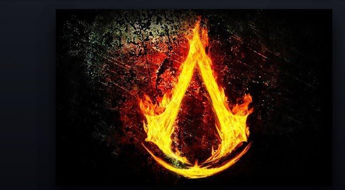 Logo de Assassin's Creed en fuego sobre un fondo negro.