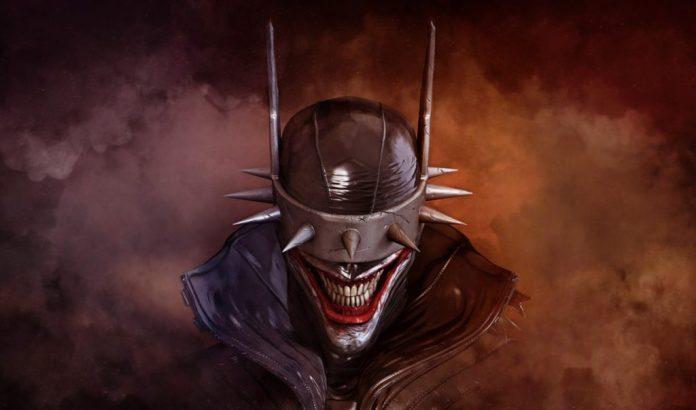 Vista de frente a Batman Who Laughs, rodeado de humo