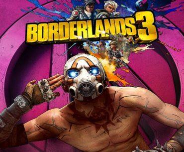 Hombre con una máscara antigás, sin camisa llevándose una mano abierta a su sien y detrás un letrero donde se lee Borderlands 3.