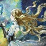 Imagen promocional de Bravely Default II con la princesa de perdió mirando hacia arriba a un cristal que flota mientras intenta tomarlo con ambas manos en un fondo de diversos tonos de azul, amarillo y verde.