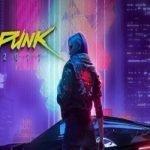 Imagen de Cyberpunk 2077 donde aparece sobre un fondo de luces de neón fuscia, turquesa y violeta, la figura de espaldas de una mujer con chaqueta de rockera parada a un lado de un vehículo rojo.