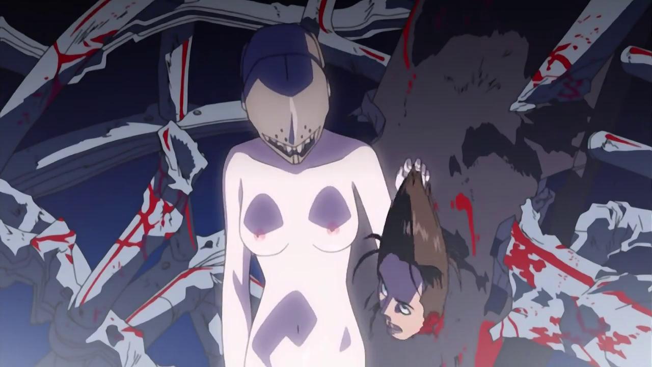 Imagen de Elfen Lied con Lucy sosteniendo la cabeza de uno de los guardias y al fondo una estructura metálica llena de sangre.