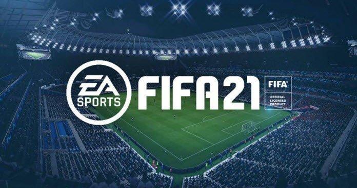 Vista nocturna de un estadio de fútbol donde destacan las luces y el terreno del juego. En medio la leyenda EA, FIFA 21