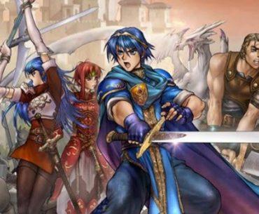 El protagonista de Fire Emblem: Shadow Dragon en primer plano vestido de azul y con una enorme espada, combate con dos chicas vestidas de rojo y un guerrero musculoso con un espadón, rodeados de soldados y al fondo la imagen de un castillo.