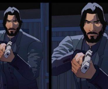 John Wick sostiene una pistola a las afueras de una casa