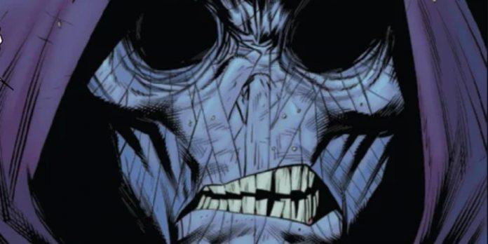 Rostro de Kindred, con las cuencas de sus ojos vacías, sin nariz, piel cetrina y dientes desviados