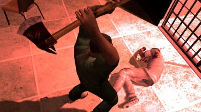 Hombre levantando un hacha contra otro hombre tirado en el piso