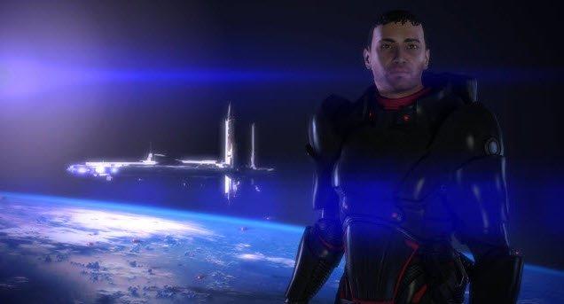 Un explorador espacial sin casco y detrás la vista de un planeta que lo sobrevuela una nave espacial.