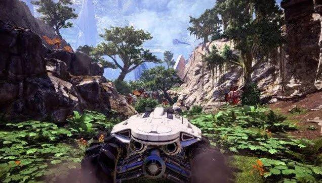 Nave de Mass Effect Andromeda transitandopor una zona montañosa rodeada de verde vegetación.