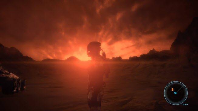 Una figura oscura con traje espacial parada en medio de un mundo oscuro y rocoso,donde brilla al fondo un sol rojizo envuelto en fuego.