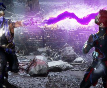Luchador de Mortal Kombat Ultimate 11 muestra al nuevo luchador Rain lanzando un rayo a otra luchadora.