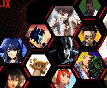 Imagen oficial de Netflix Anime Festival 2020 con todos los animes disponibles en 2021 en un fondo negro.