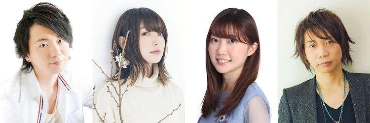 Imagen con fotos de los actores de voz Ryohei Kimura, Reina Ueda, Sumire Moroboshi y Junichi Suwabe en fondo blanco.