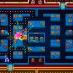 Jugabilidad de Pac-Man: Mega Tunnel Battle con Pac-Man usando un power up.