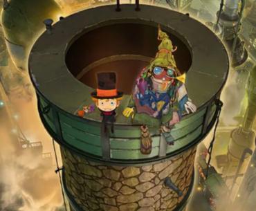 Imagen promocional de 'Poupelle of Chimney Town' con los dos protagonistas sentados sobre una chimenea con la ciudad de fondo