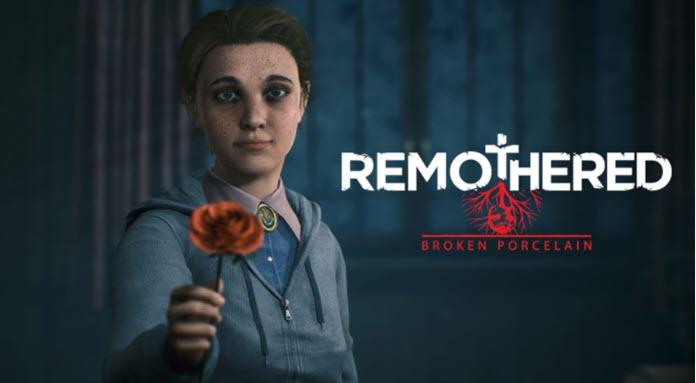 Una niña sostiene una rosa roja en sus manos con el logo de Remothered: Broken Porcelain al fondo junto a unos árboles