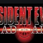 Sobre un fondo negro con letras rojas se lee Resident Evil Dead Aim y en medio lacara de un demonio con cachos rojo