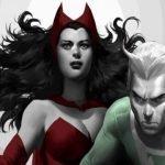 Scarlet Witch con su traje rojo y Quicksilver con su traje verde de los cómics en un fondo blanco