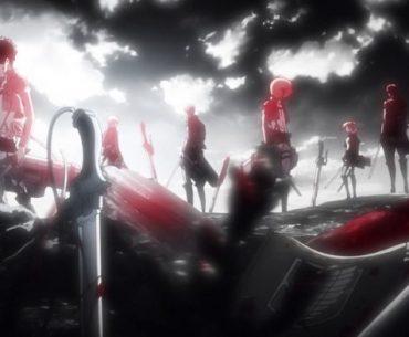 Los protagonistas de Shingeki no kyojin parados en un cementerio en blanco y negro con algunas zonas resaltadas en rojo