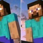 Dos imágenes pixeladas de Steve de Minecraft que muestran dos figuras hecho de bloques con estructuras cuadrada donde en uno se muestra un objeto alargado que sobresale de una de sus manos y en la otra imagen no.