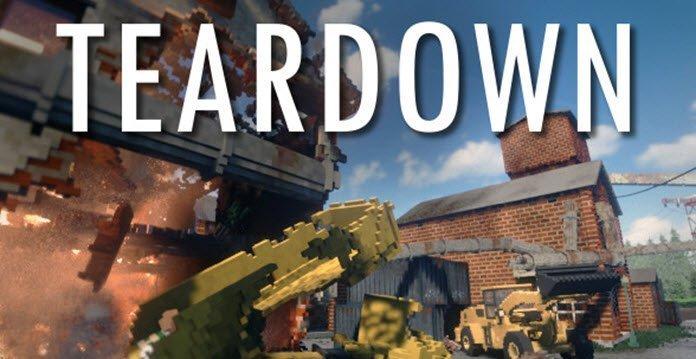 Un edificio siendo derrumbado por un camion lleno de escombros en el juego Teardown