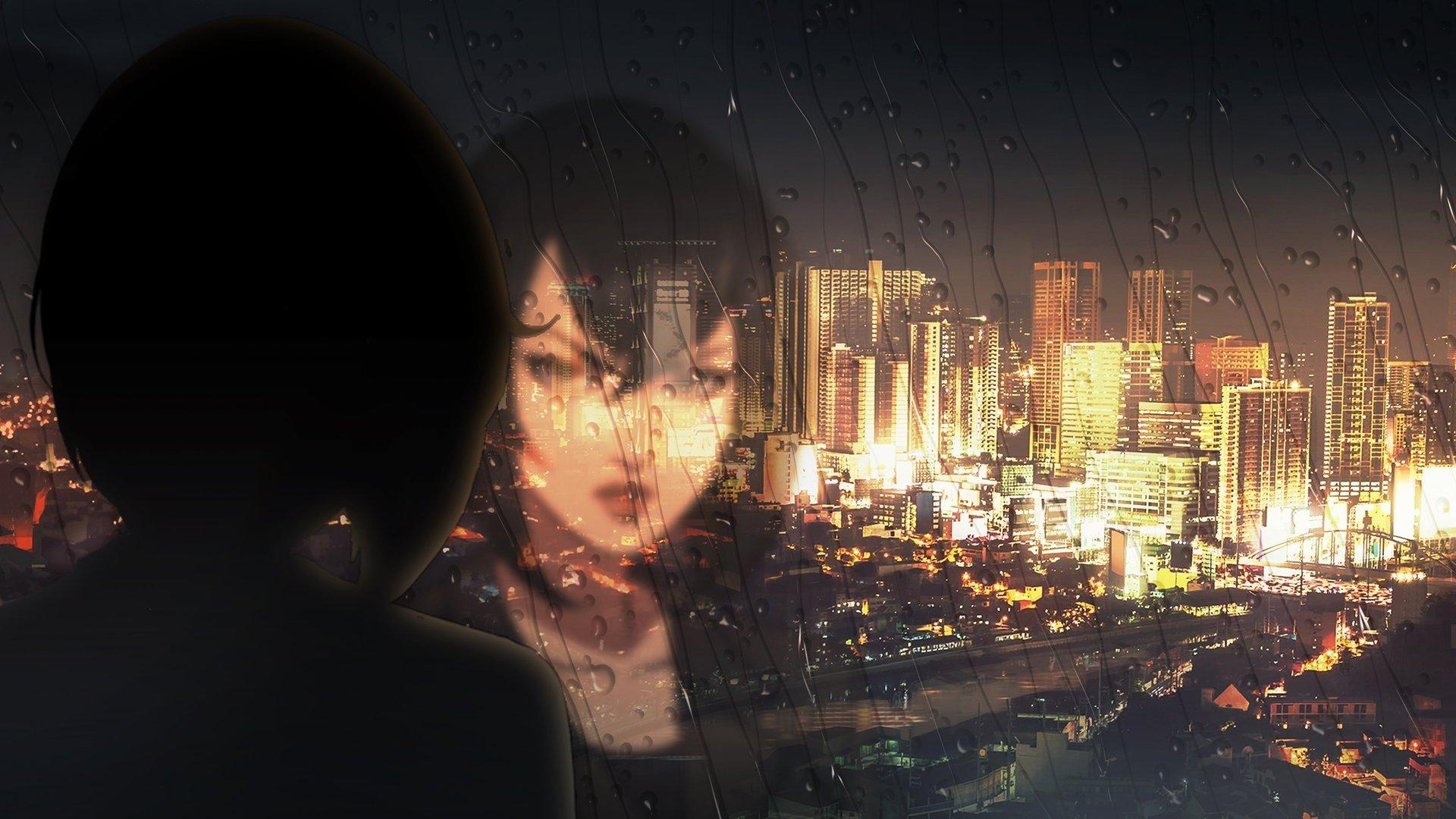 Imagen oficial de Trese con la protagonista viendo a través de un vidrio empañado la ciudad de Manila.