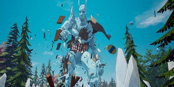 Un gigante de piedra destruyendo todo a su paso en medio de un bosque de pinos en el juego Tribes of Midgard.