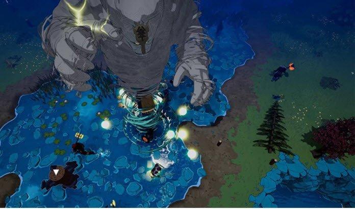 Criatura gigante vista desde arriba mientras vasaliendo de una espiral y a su alrededor un lago azul con luces y una orilla de tierra con matorrales.