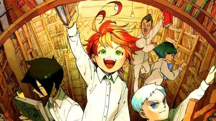 Imagen de la novela ligera de Yakusoku no Neverland con los niños de Grace Field House buscando libros en la biblioteca, con Emma como la estrella al mirar hacia arriba y extender el brazo derecho para obtener un libro.