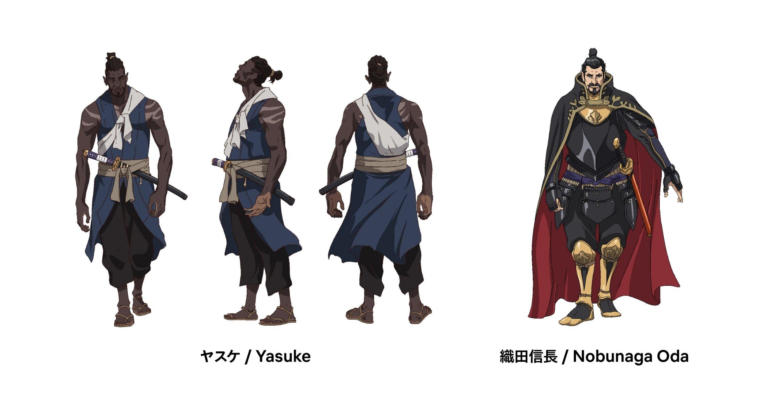 Imagen de diseño de personajes de Yousuke con Yousuke y Oda Nobunaga mostrados en un fondo blanco.