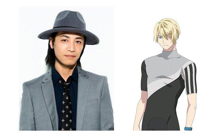 Imagen dividida con el actor de voz de Inaba Kousuke Toriumi a la izquierda e Inaba a la derecha en fondo blanco.