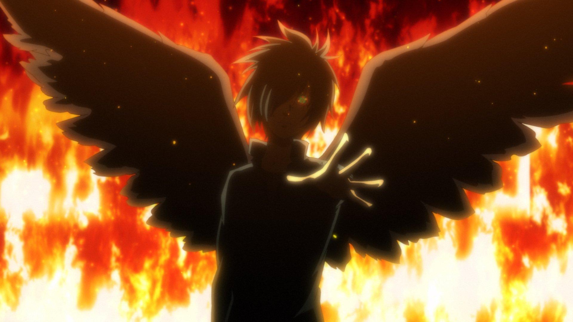 Imagen de B the Beginning con un ángel alzando el brazo y el fondo en llamas.