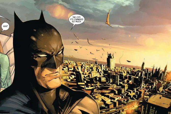 Batman reflexionando sobre los cambios de su ciudad al atardecer