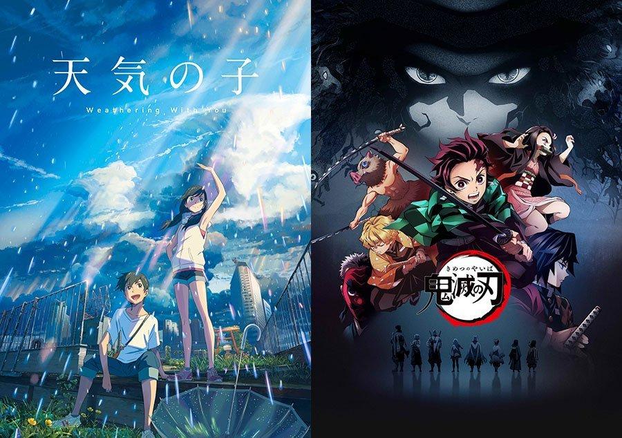 Imágenes oficiales de las películas 'Tenki no Ko' de Makoto Shinkai y Kimetsu no Yaiba Movie: Mugen Ressha-hen con los protagonistas al centro