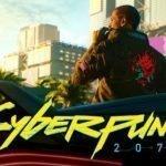 Logo de Cyberpunk 2077 en letras amarillas con uno de sus personajes principales al fondo fumando un cigarrillo en plena Night City
