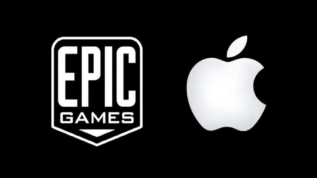 Logos de Epic Games y Apple frente a frente