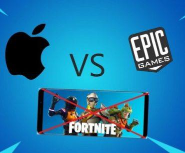 Logos de Epic Games y Apple frente a frente con un iPhone con Fortnite cancelado con una X roja, todo en un fondo azul