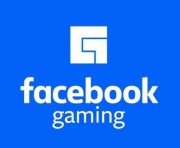 Logotipo oficial de Facebook Gaming en color blanco y fondo azul