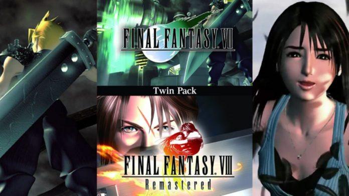 Portada oficial de Final Fantasy Twin Pack, con Cloud Strife de espaldas a la izquierda y Rinoa Heartilly a la derecha, con los logos de FFVII y FFVIII Remastered en el centro