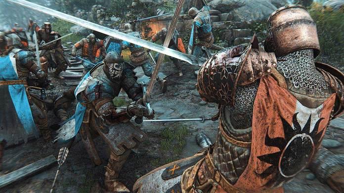 Dos guerreros de For Honor luchan en el campo de batalla.