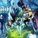 Héroes de Genshin Impact huyendo de un dragón gigante