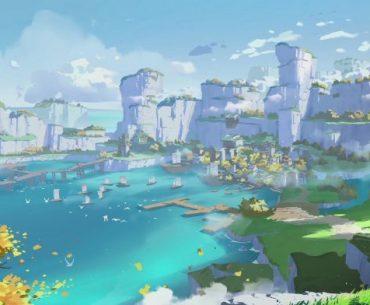 Arte conceptual de Genshin Impact, mostrando el mar y montañas en el horizonte