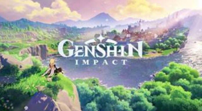 Logo de Genshin Impact con un lago de fondo que rodea una isla en la que se pueden observar a unas edificaciones a plena luz del día