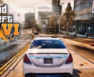 Un auto recorre las calles de una ciudad repleta de grandes edificios con el fondo a la izquierda el logo de GTA 6