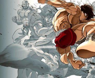 Imagen de Baki con el protagonista suspendido en el aire a punto de dar un patada con su pierna derecha y al fondo sus contrincantes en pose de batalla y en blanco y negro.