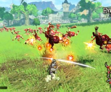 Link lucha contra bokoblins en el campo.