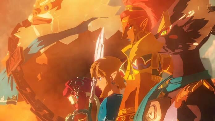 Daruk, Mipha, Revali, Urbosa y Link se preparan para la batalla.