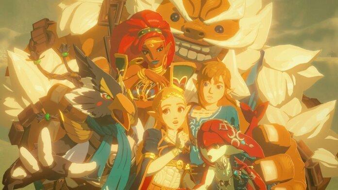 Foto de los campeones de Hyrule, Urbosa, Revali, Daruk, Mipha y Link.